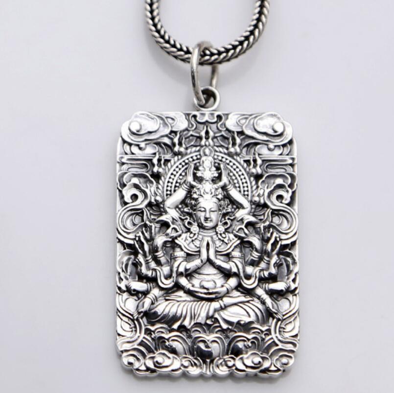 Czystego srebra Sterling 990 srebrny wisiorek Avalokitesvara biżuteria (FGL) w Wisiorki od Biżuteria i akcesoria na  Grupa 1