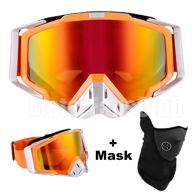 Orange Motorcycle Goggles Glasses Motocross ATV Off Road Goggles Eyewear Protective Sports Glasses for Helmet With Mask
