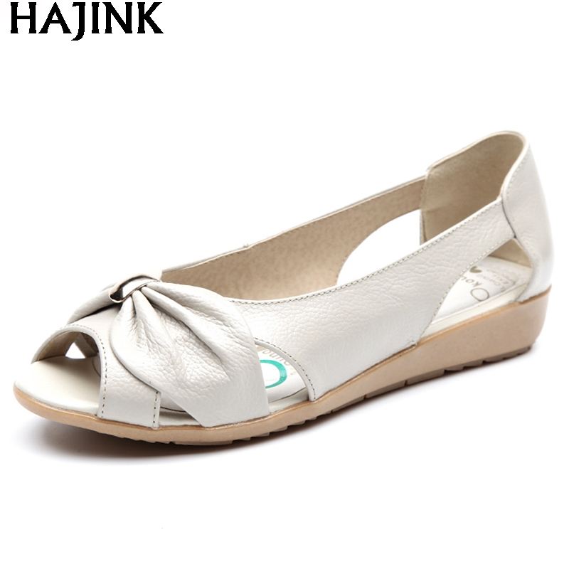 HAJINK Summer Ladies Fashion Sandals middle-aged soft leather fish head sandals large size slope comfortable Woman shoes