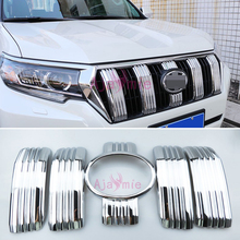 Accessories For Toyota Land Cruiser 150 Prado LC150 FJ150 2018 Front Grille Bumper Trims With Camera Hole Chrome Car-Styling