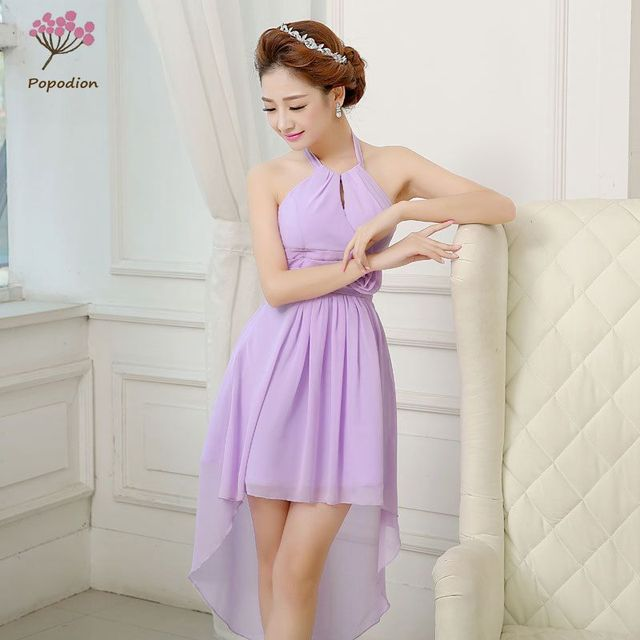 Purple Chiffon Bridesmaid Dresses Short Dress For Wedding Guests Sister Party Formal Prom Rom80066