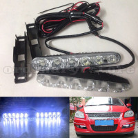 1 Pair Waterproof Super Bright White 12W 6 LED Car Headlight Daytime Running Light DRL Fog