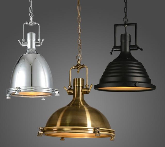 Vintage Lampe American Style E27 Cuivre Chrome Pendentif Lampes