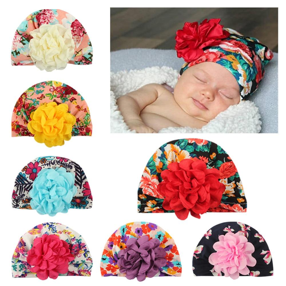 Girl Bandana Hats Kid Newborn Flower Headband Headscarf Band Printing Floral
