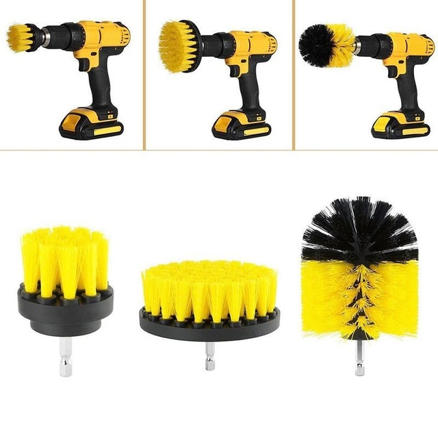 3 pcs/set Power Scrubber Brush Drill Brush Clean for Bathroom Surface Tub Shower Tile Grout Cordless Power Scrub Cleaning Yellow