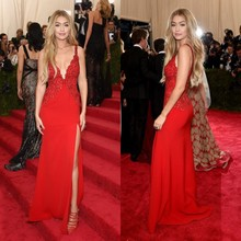 2015 Met Gala Gigi Hadid Sexy Red Carpet Celebrity Prom Dress With Applique V Neck Backless Split Side Free Shipping Vestidos