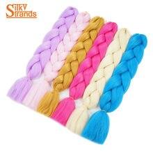 24 inch 100g Synthetic Braiding Hair Extensions Kanekalon Jumbo braids Bulk Pure Color Blonde For Crochet Braids Silky Strands
