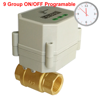 1/2'' Clock Timing control brass valve,110V-240VAC Timer Controlled Valve with 9 group programing