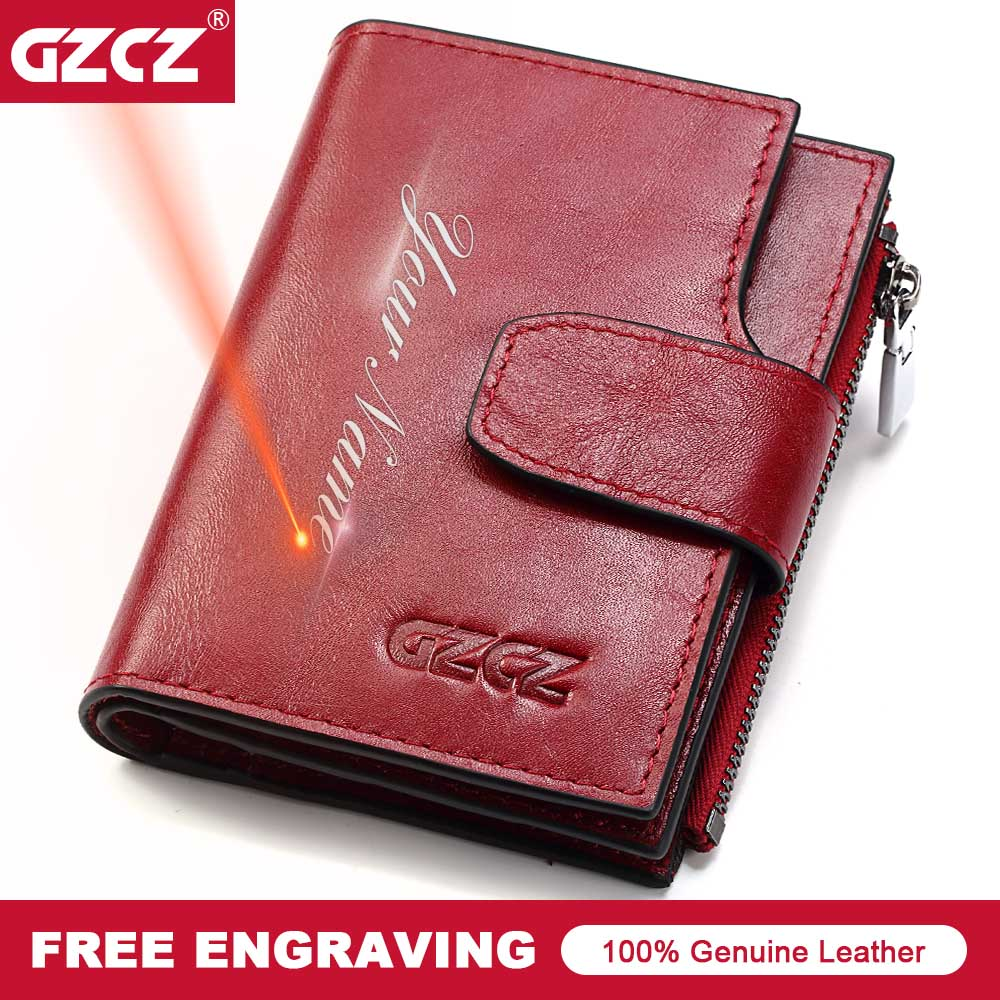 GZCZ Genuine Leather Woman Wallet Fashion Coin Purse Short Wallets Lady Zipper Poucht Hasp Vallet Small Money Bag Portomonee