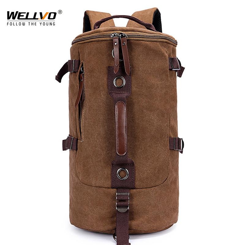 Men Military Backpack Canvas Travel Bag Large Capacity Luggage Backpacks Male Casual Shoulder Rucksack Belt Mochila Brown XA759C