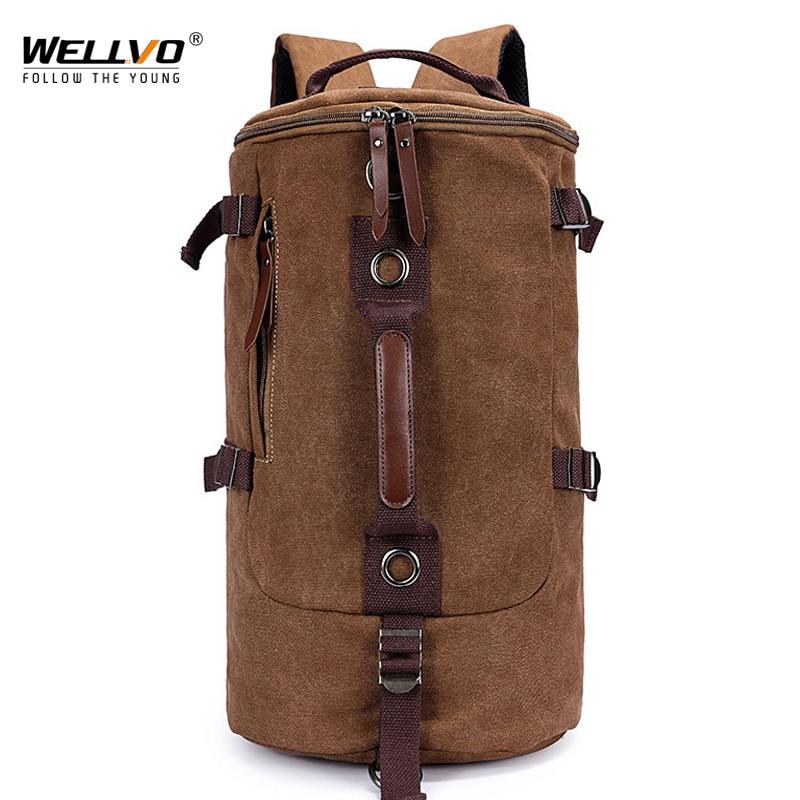 Men Military Backpack Canvas Travel Bag Large Capacity Luggage Backpacks Male Casual Shoulder Rucksack Belt Mochila Brown Xa759c