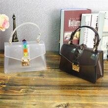 Bolsas Feminina Sale Pu Luxury Handbags Bags Designer 2018 summer Beach New Transparent Jelly Bag Color Rivets Shoulder Handbag