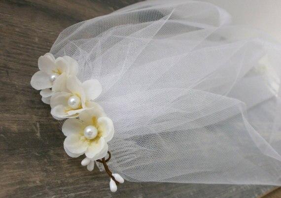 b2dca1fd14f velos novia short flowers wedding veil Bachelorette Veil Bridal Shower Veil  Party Accessory Headband Veil -in Bridal Veils from Weddings   Events on ...