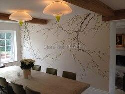 Hand Bemalt Seidentapeten Malerei Plum Blossom Handgemalte Wand Papier  Tv/sofa/schlafzimmer/wohnzimmer Hintergrund Wandverkleidung