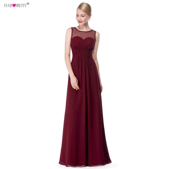 Burgundy Long Chiffon Bridemaid Robes Ever Pretty Ep08761 Illusion