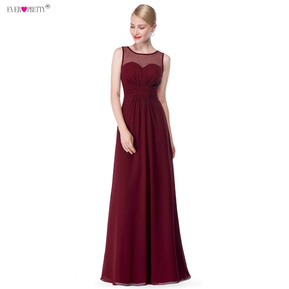 Burgundy Long Chiffon Bridemaid Robes Ever Pretty EP08761 Illusion Plus Size A-Line   Bridesmaid     Dresses   for Wedding Party 2018