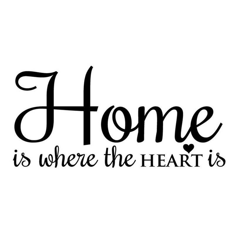 wall quotes stickers home is where the heart is wall vinyl graphics decal family living room. Black Bedroom Furniture Sets. Home Design Ideas