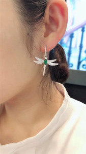 Image 3 - SLJELY 925 Sterling Silver Dragonfly Asymmetric Earrings Inlayed Green Red Blue Cubic Zirconia for Women Insect Fine Jewelry