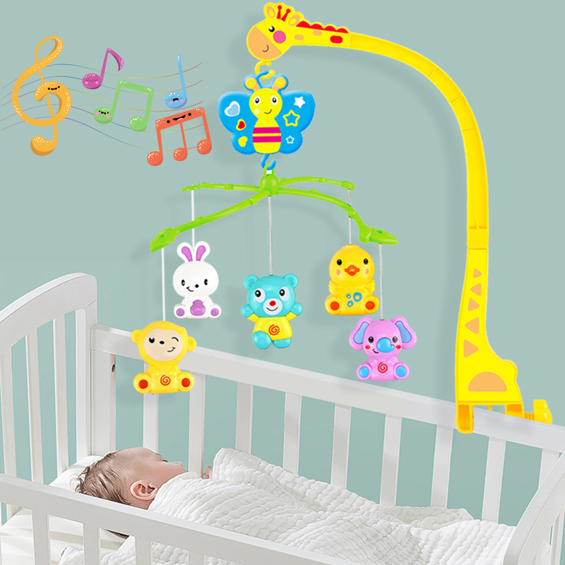 4 in 1Musical Crib Mobile Bed Bell Kawaii Animal Baby Rattle Rotating Bracket Toys Giraffe Holder Wind-up Music Box Gift oyuncak baby toys white rattles bracket set baby crib mobile bed bell toy holder arm bracket wind up music box free shipping