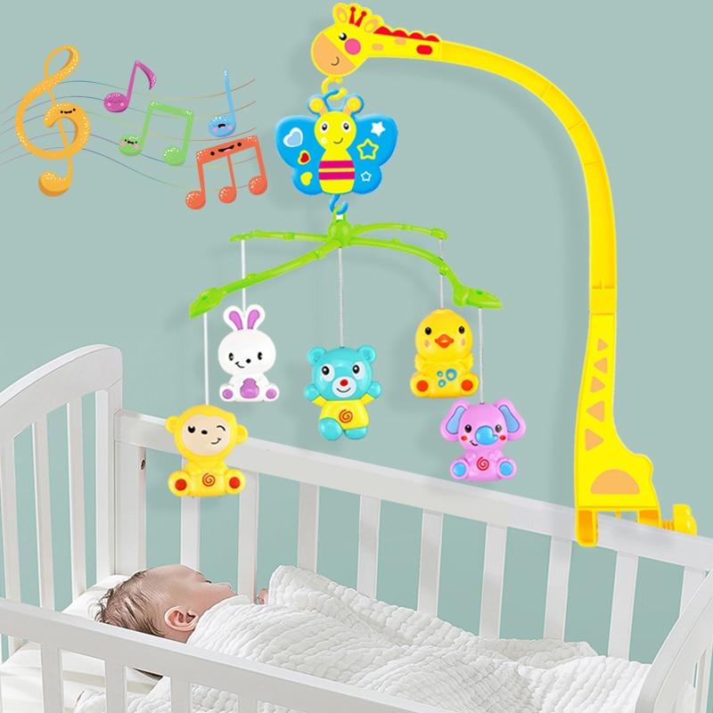 4 in 1Musical Crib Mobile Bed Bell Kawaii Animal Baby Rattle Rotating Bracket Toys Giraffe Holder Wind-up Music Box Gift oyuncak
