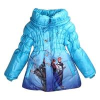 3 8 T 2016 Girls Children Snow Queen Princess Elsa Kids Winter Coat Down Jackets Children