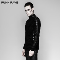 PUNK RAVE Gothic Pattern Gorgeous Black Tight Fit Long Sleeve Plain Personality Bandage Men T shirt Punk Motocycle Street Tops