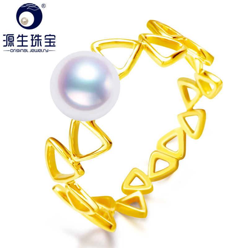 цена [YS] Pearl Jewelry Unique Design 14K Gold Ring 6.5-7mm White Akoya Pearl Ring Geometric Ring