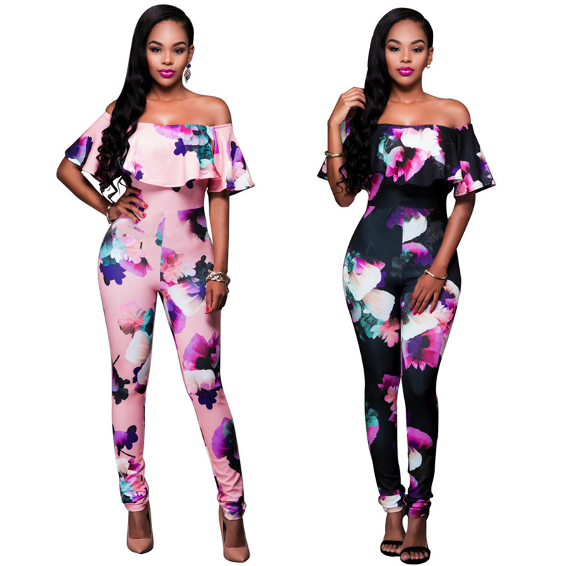 S-4XL Ruffle Off Shoulder Jumpsuit Womens Elegant Floral Big Plus Size Party Club Overalls Sexy Printed Rompers Womens Jumpsuit