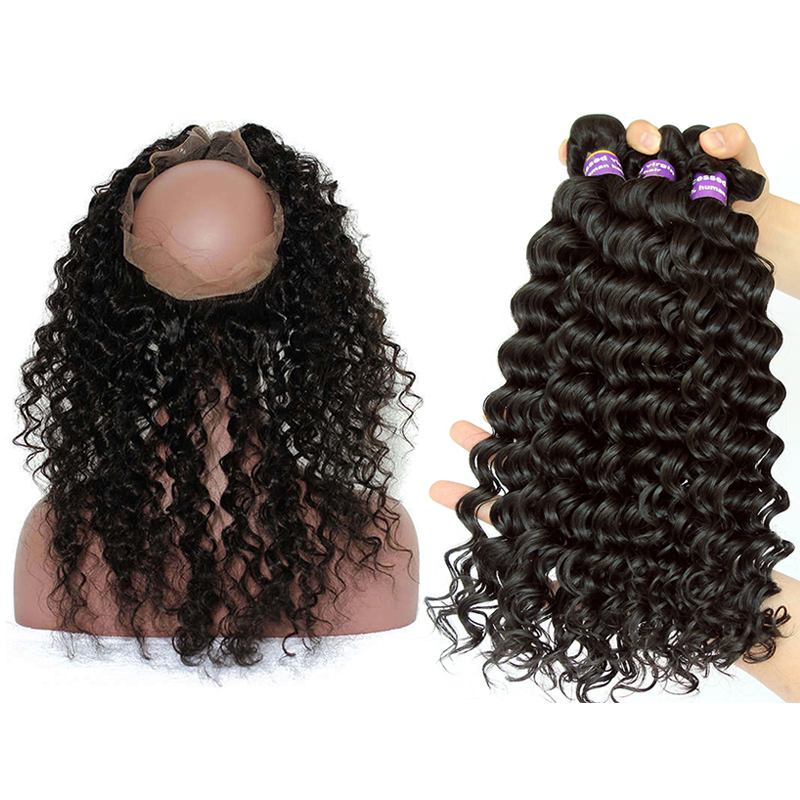 Deep Wave Human Hair Bundle With Closure Brazilian Hair Weave Bundles With 360 Frontal Closure Full Hair Extensions CARA Remy
