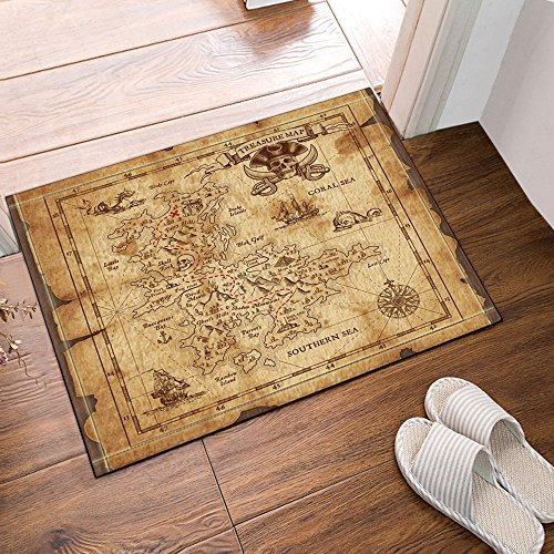 Old Map Pirate Ship In Vintage Bath Rugs Non Slip Door Mat