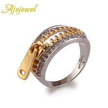 Anillos de cremallera atractivos de color dorado AAA con diseño clásico de marca de 6-10 tamaño Ajojewel para mujer
