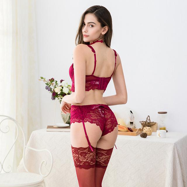 Women's sexy 5 Piece lace bra set (Bra + panties + garter + stockings + necklace )