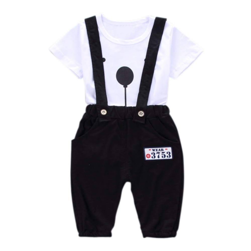 2pcs Baby Boy Clothing Set Toddler Infant Newborn Summer Baby Girls Boy Clothes Short Sleeve Bear Overalls Suit Outfits