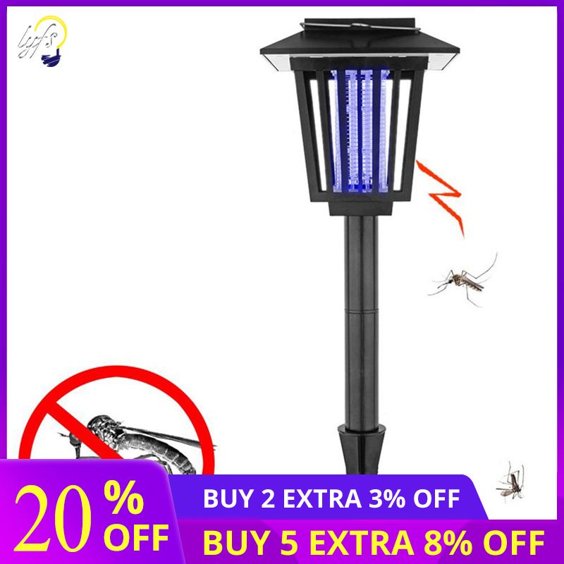 New Upgraded Solar Mosquito Killer For Fly/Worm/Moths/Flies, Waterproof & Electronic Insect Trap Pest Control LED Garden Lamp