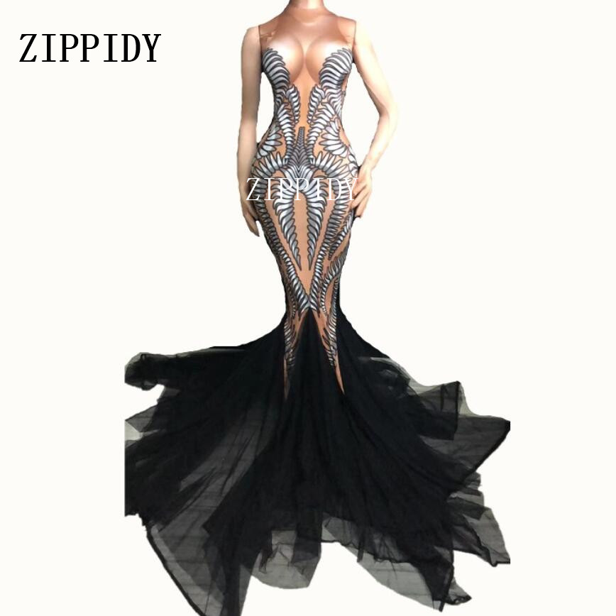 Black Mesh Trains Long Dress Performance Stretch Dance Dress Birthday Celebrate Outfit Nightclub Party Singer Costume Dress
