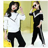 Tracksuit Girls Sports Suits Autumn Black White Black Sweatshirts Pants Kid Girls Set 2017 Little