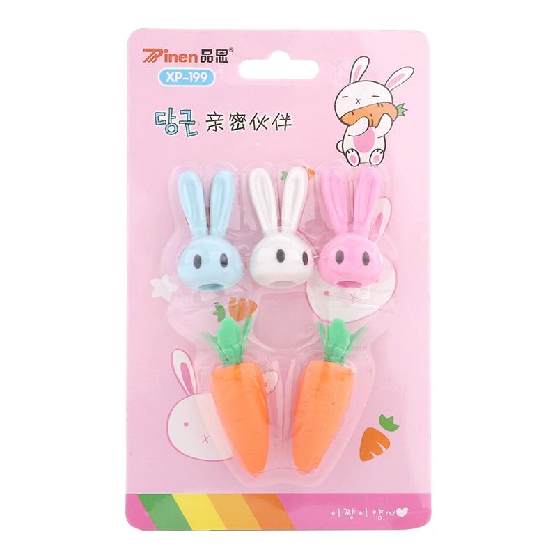 Carrot Bunny Eraser Set Child Cartoon Cute Mini Skin Like Pupils Creative Stationery