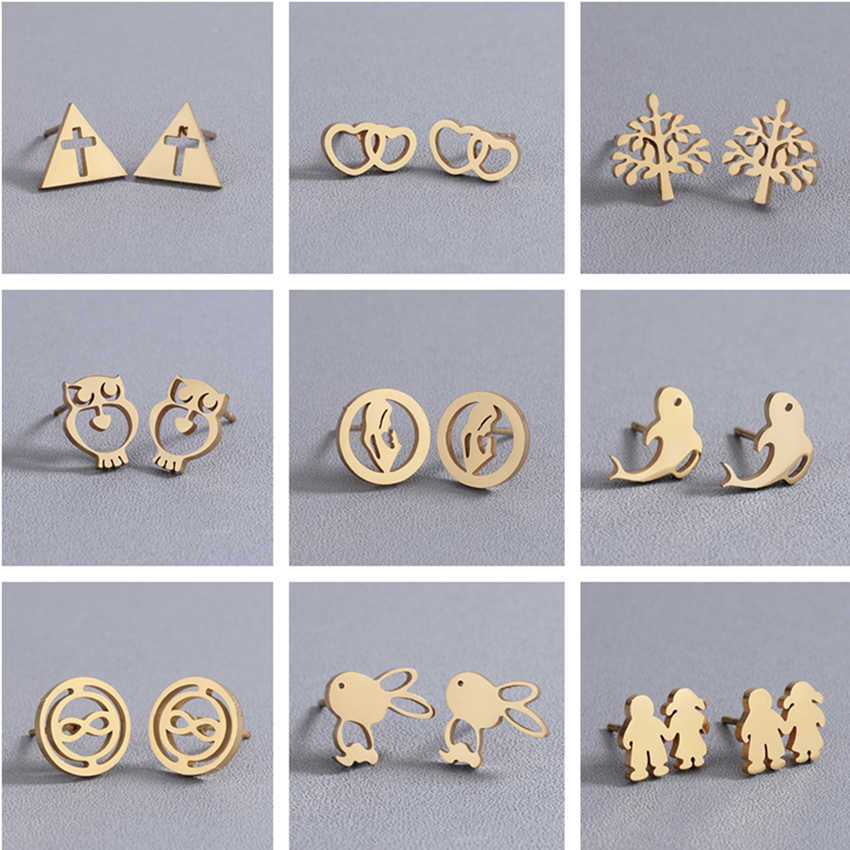 Cxwind Gold Geometric Triangle /Cross/Owl/Tree/Rabbit Stud Earring for Jesus Faith Women Stainless Steel Earings Jewelry brincos