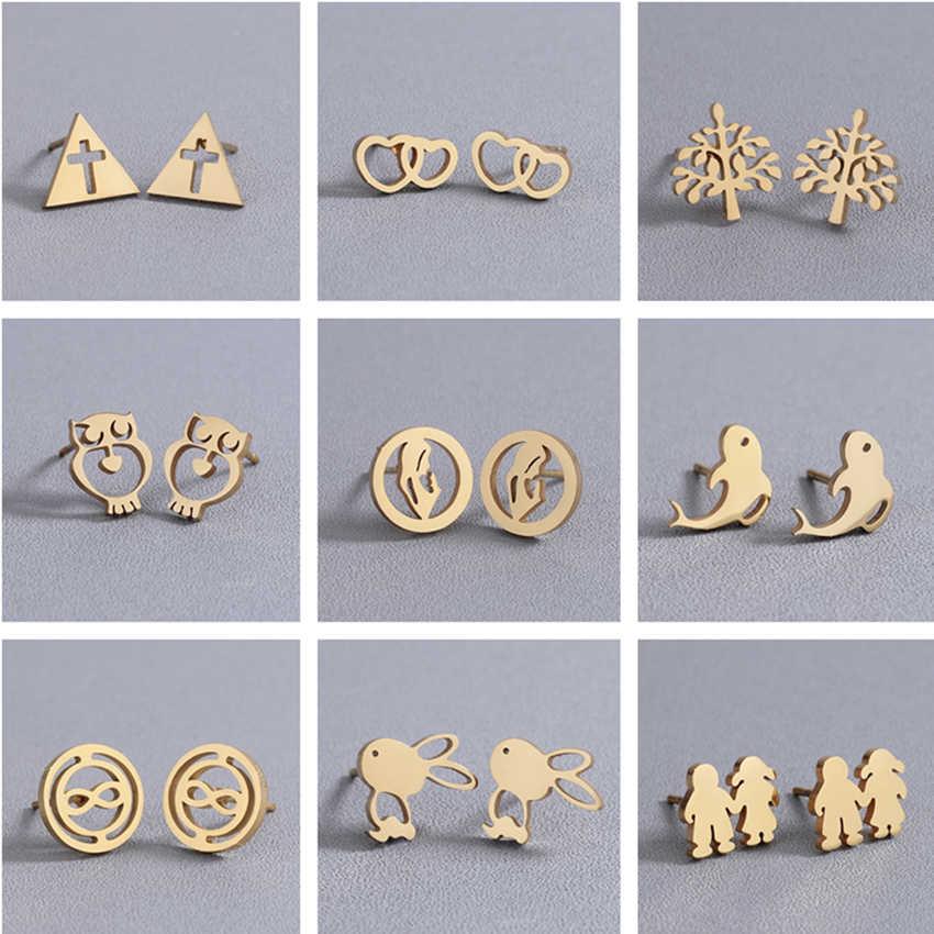 Cxwind Emas Geometris Segitiga/Cross/Burung Hantu/Pohon/Kelinci Stud Anting-Anting untuk Yesus Iman Wanita Stainless Steel anting-Anting Perhiasan Brincos