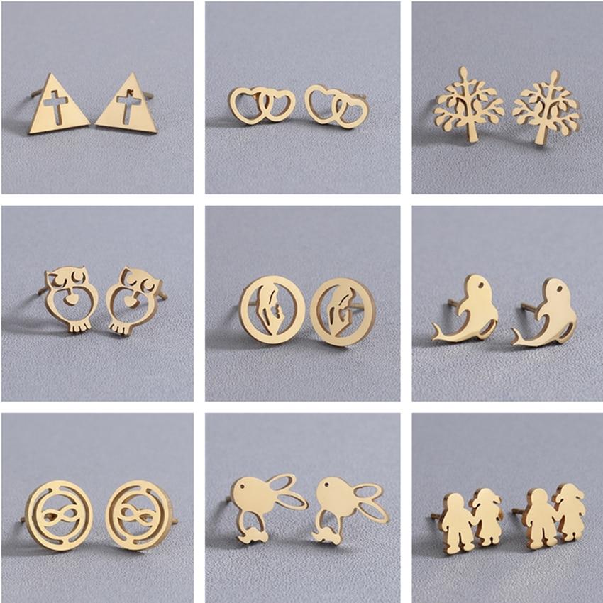 Cxwind Gold Geometric Triangle /Cross/Owl/Tree/Rabbit Stud Earring For Jesus Faith Women Stainless Steel Earings Jewelry Brincos