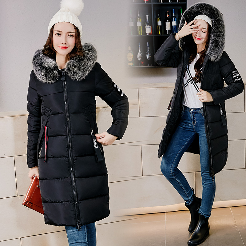 2017 Winter Women Parkas Female Cotton-padded Coats Jackets Long Feathers Collar Thick Warm Hooded Zipper New Hot LA1013B#16618 ce certificate automatic gyoza maker steamed dumpling make automatic stainless steel dough making machine chinese dumpling maker