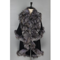 ZY87065 2016 Hot Sale Handmade Ladies' Genuine Natural Big Size Silver Fox Fur With Wool Shawls WinterFur Fur Pashmina
