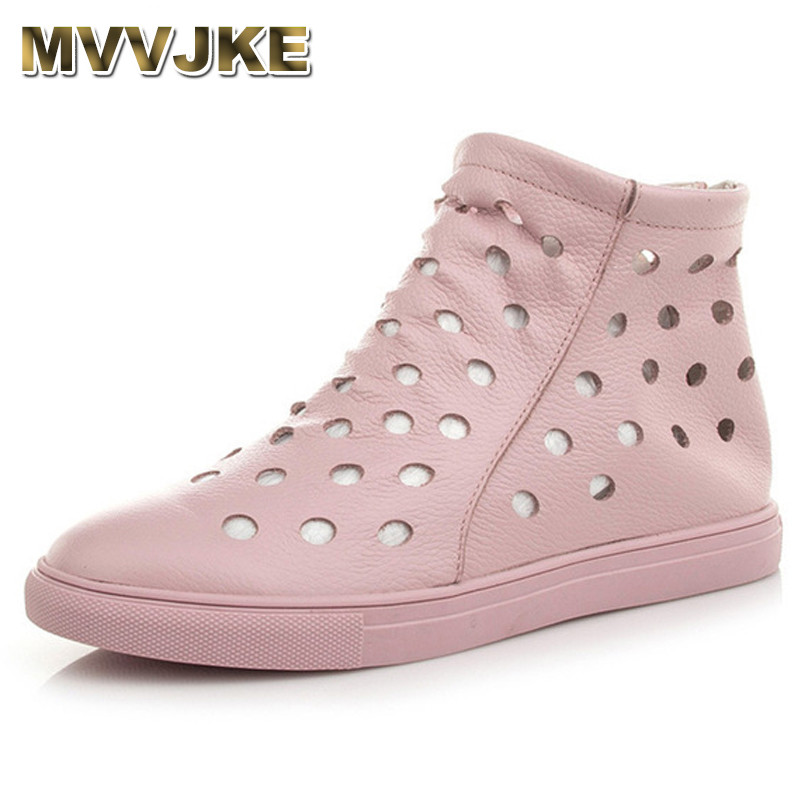 MVVJKE Women Mother Female Ladies Shoes Boots Cow Genuine Leather PU Round Hollow Summer Cool Zipper