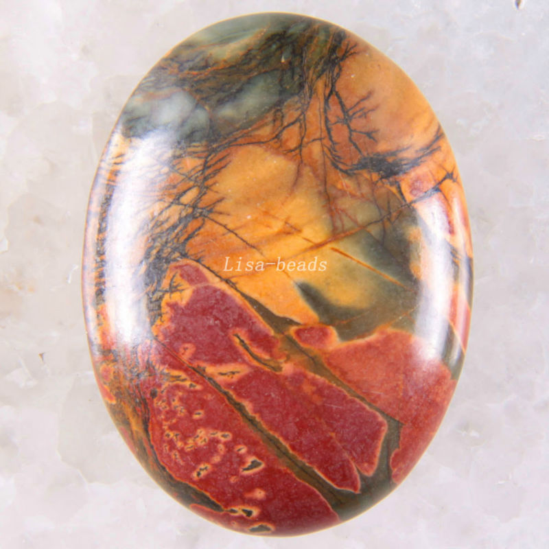 Free Shipping New without tags Stone 30x40MM Natural Multi-color Picasso Jaspe Bead CAB Cabochon 1Pcs RK1687