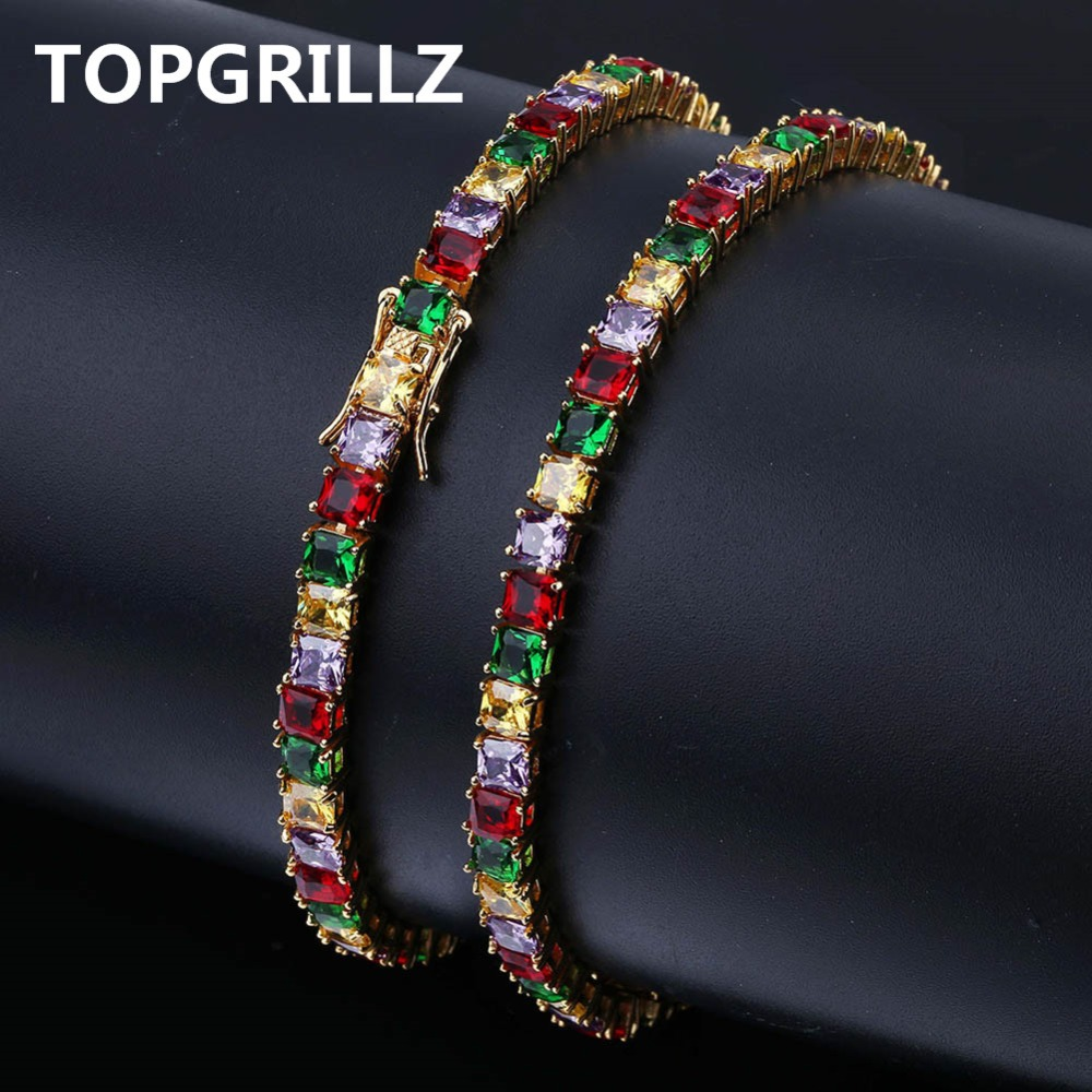 TOPGRILLZ Hip Hop Gold/Silver Color Plated Iced Out Micro Pave AAA CZ Stone Colorful Tennis Chain Bracelet For Men Women GiftsTOPGRILLZ Hip Hop Gold/Silver Color Plated Iced Out Micro Pave AAA CZ Stone Colorful Tennis Chain Bracelet For Men Women Gifts