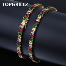 TOPGRILLZ Hip Hop Gold/Silver Color Plated Iced Out Micro Pave AAA CZ Stone Colorful Tennis Chain Bracelet For Men Women Gifts(China)