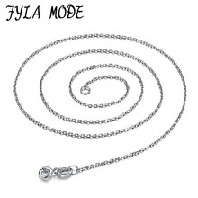 100% Genuine Real Pure Solid 925 Sterling Silver Chain Necklace for Women Round O Basic Chains Fine Jewelry Female