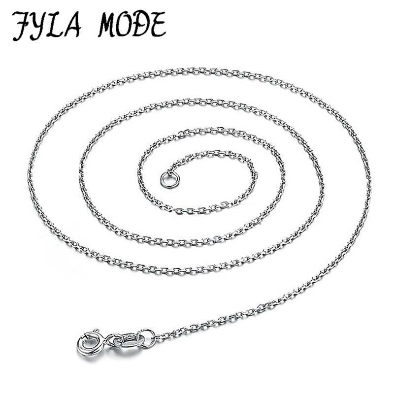 100% Genuine Real Pure Solid 925 Sterling Silver Chain Necklace for Women Round O Basic Chains Fine Jewelry Female Necklace