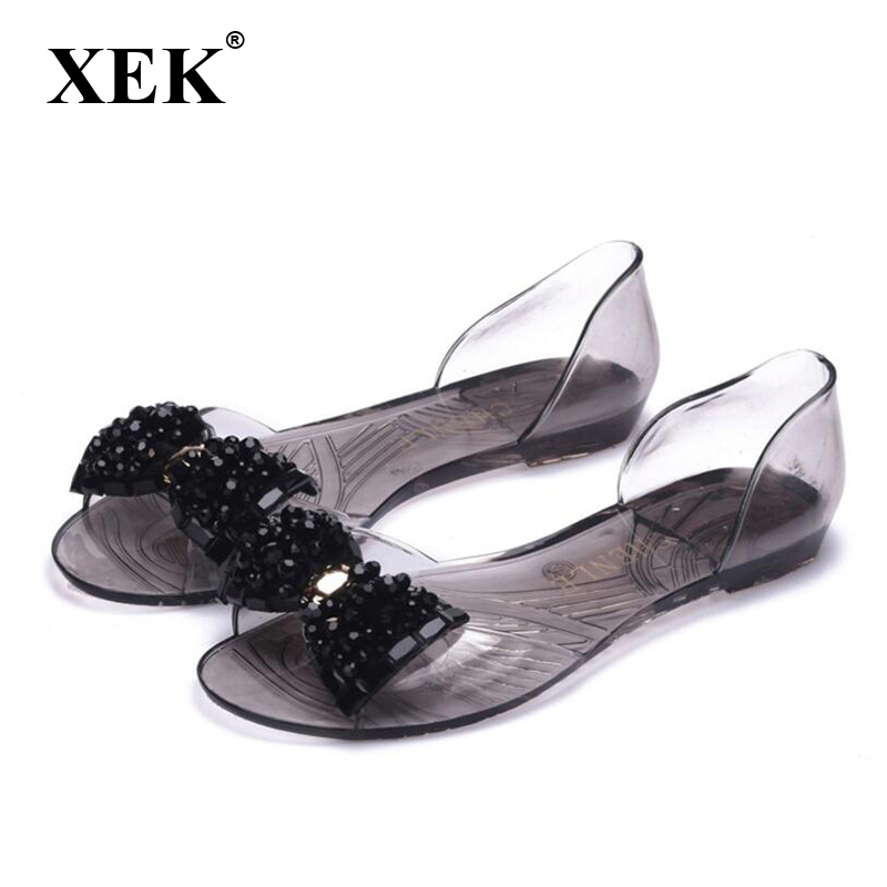 Women Peep Toe Shoes 2017 New Women Solid Bling Bowtie Jelly Shoes Female Slip-On Cover Heel Transparent Bowtie Sandals XC07 xiaying smile summer women sandals casual fashion lady square heel slip on flock shoes pointed toe cover heel lace bowtie shoes page 8