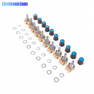 Diymore 5 шт. WH148 потенциометр, резистор B10K 10K 6Pin линейный конический поворотный потенциометр для Arduino с крышкой